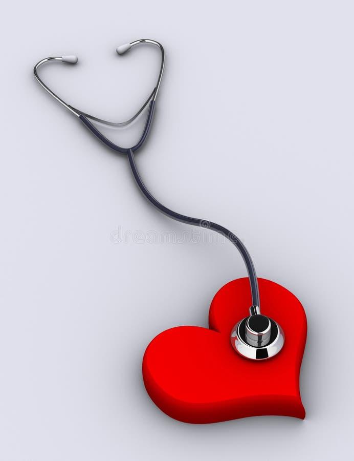 Estetoscopio y corazón stock de ilustración