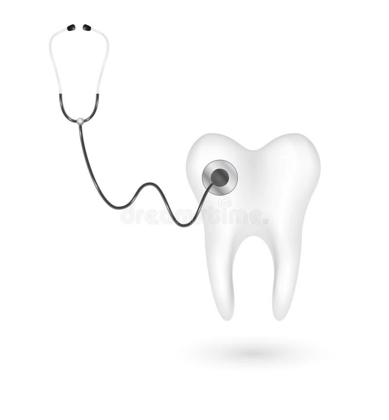 Estetoscopio y diente ilustración del vector