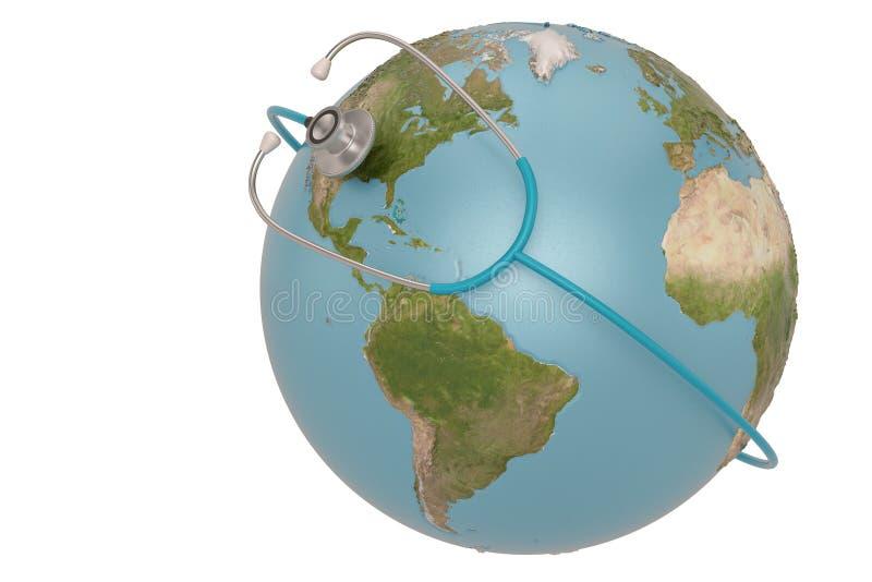 Estetoscopio y globo aislados en el fondo blanco ilustraci?n 3D stock de ilustración