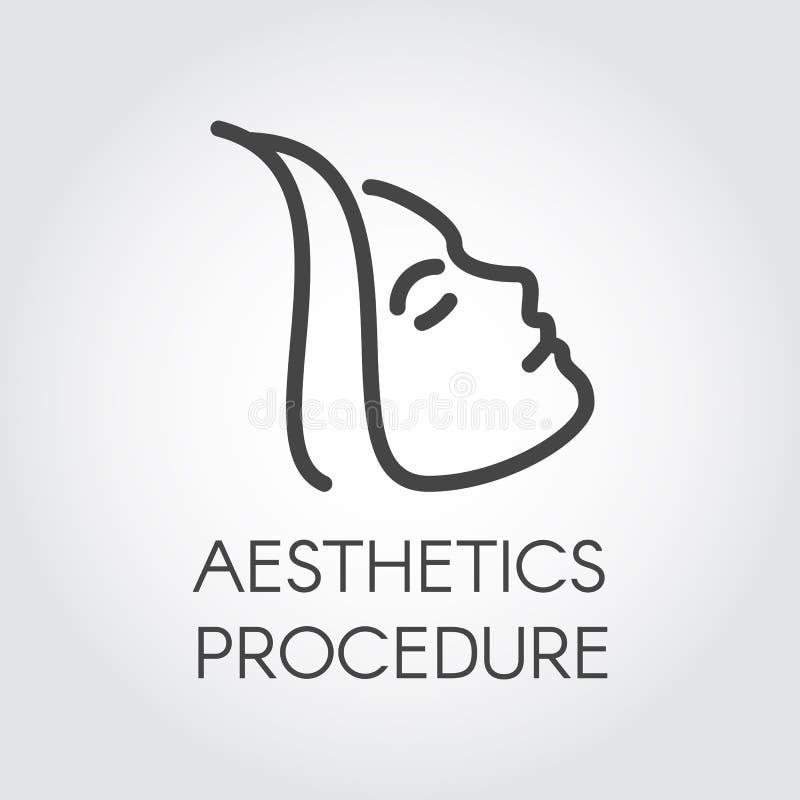 Estetyczna procedury linii ikona Abstrakcjonistyczny portret profilowa kobieta Kosmetologia, skincare, opieki zdrowotnej traktowa royalty ilustracja