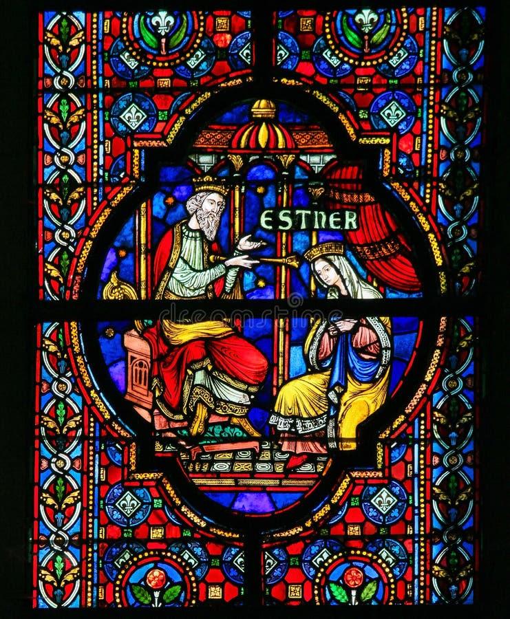Esther - λεκιασμένο γυαλί στοκ εικόνες
