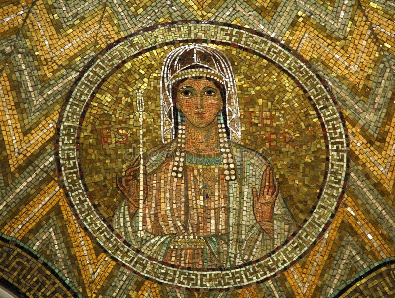 Esther, mosaico, igreja de Hagia Maria Zion, Jerusalém imagem de stock