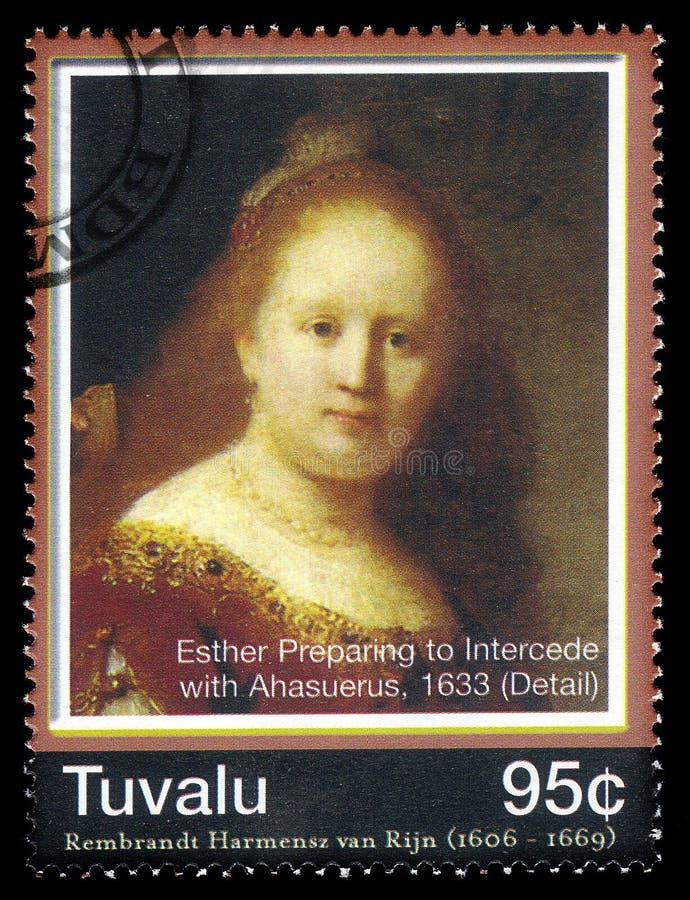 Esther som förbereder sig att lägga sig ut med Assuerus av Rembrandt arkivbild