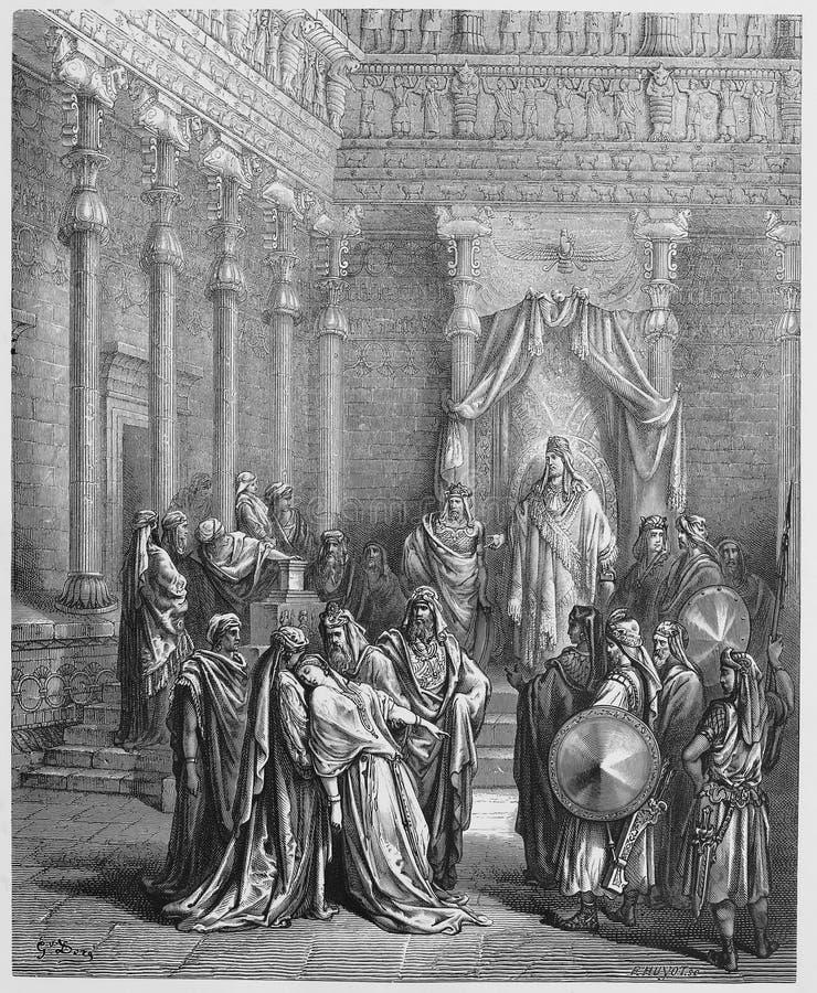 Esther vóór de Koning vector illustratie