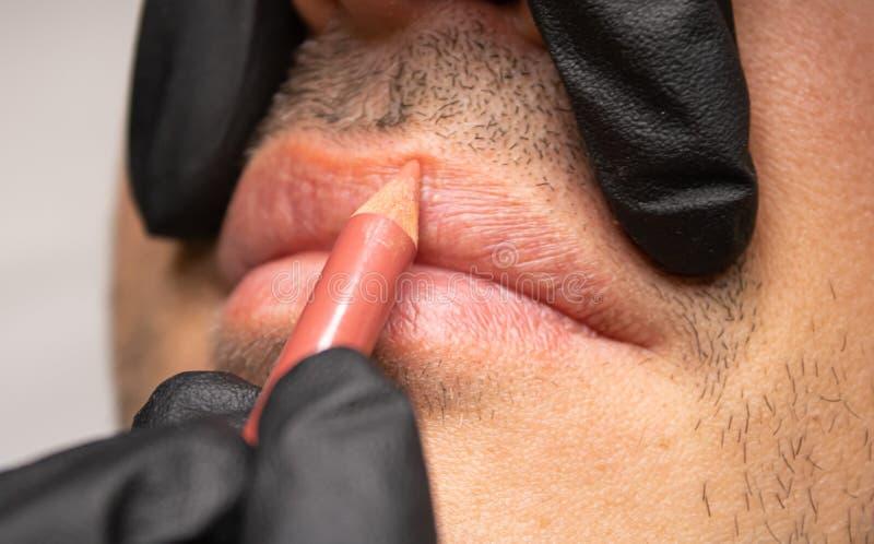 Male NU Lips. Young man closeup lips, male permanent make up, men`s bristle. stock image