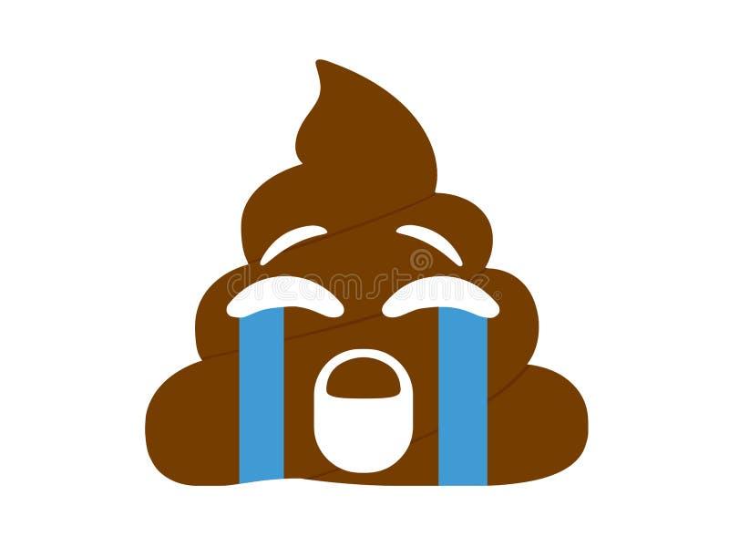 Estiércol marrón infeliz y triste aislado con el icono plano del rasgón ilustración del vector