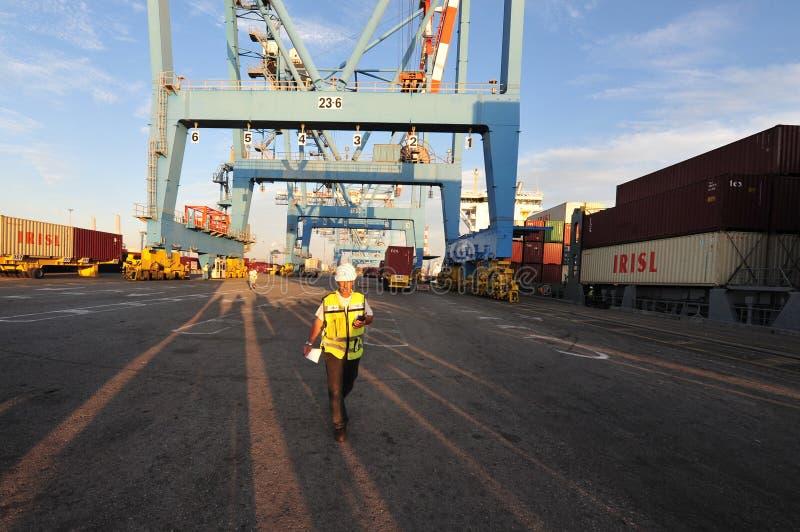 Estibador - trabajador del puerto fotografía de archivo
