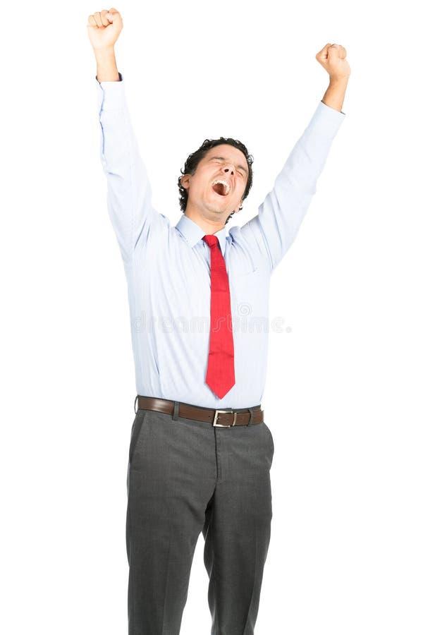 Esticão de bocejo latino-americano cansado do trabalhador de escritório fotografia de stock