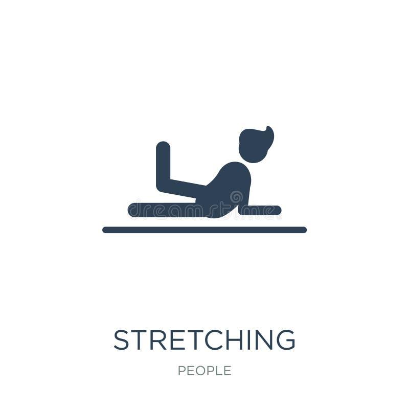 esticando o ícone dos exercícios no estilo na moda do projeto esticando o ícone dos exercícios isolado no fundo branco Esticando  ilustração stock