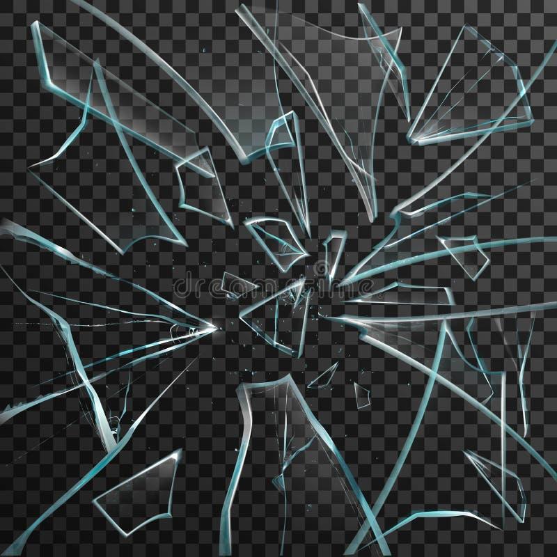Estilhaços realísticos do vidro quebrado transparente ilustração stock