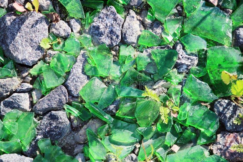 Estilhaços verdes da garrafa que encontram-se no pavimento fotos de stock royalty free