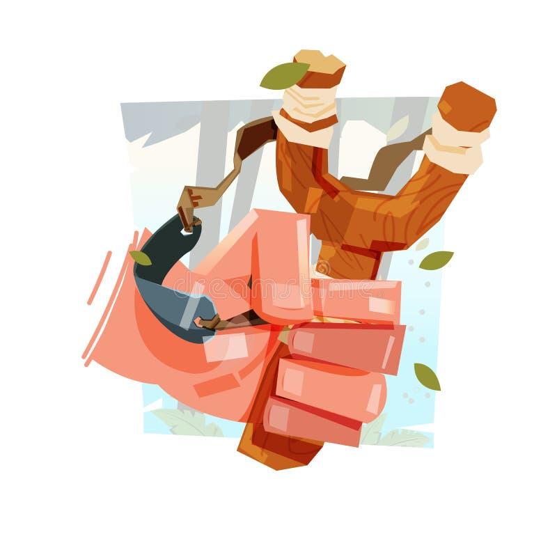 Estilingue à disposição com fundo da selva, conceito da infância - VE ilustração royalty free