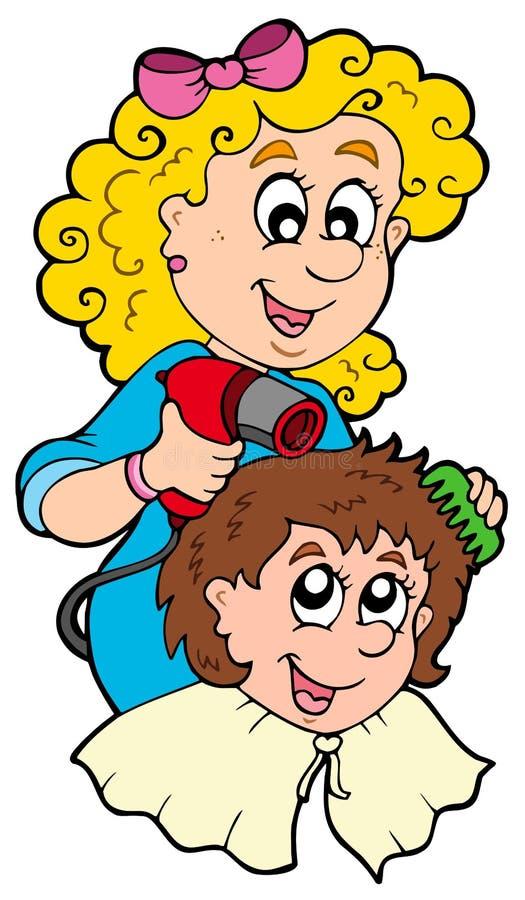 Estilista de cabelo dos desenhos animados ilustração stock
