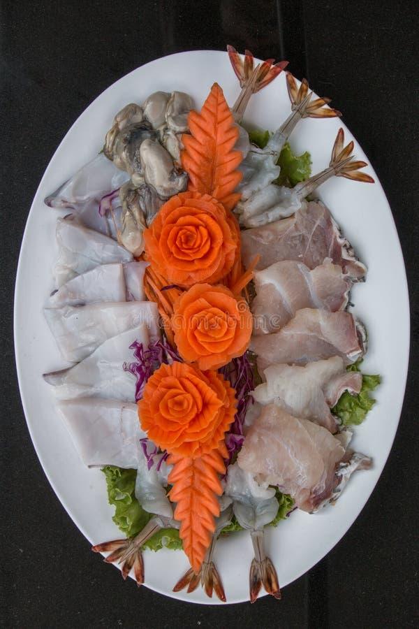 Estilista de la comida de la materia prima de los mariscos foto de archivo libre de regalías