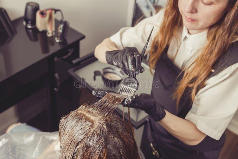 Estilista de sexo femenino que aplica un tinte al pelo de los clientes fotos de archivo