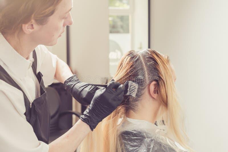Estilista de sexo femenino que aplica un tinte al pelo de los clientes fotos de archivo libres de regalías