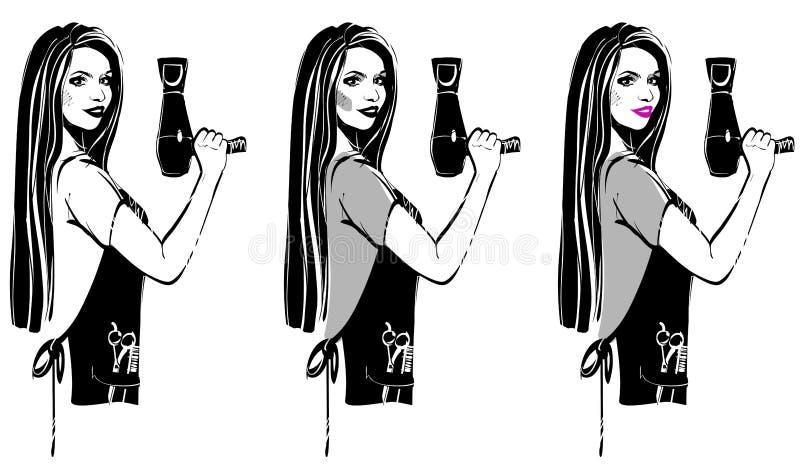 Estilista del peluquero de la muchacha ilustración del vector