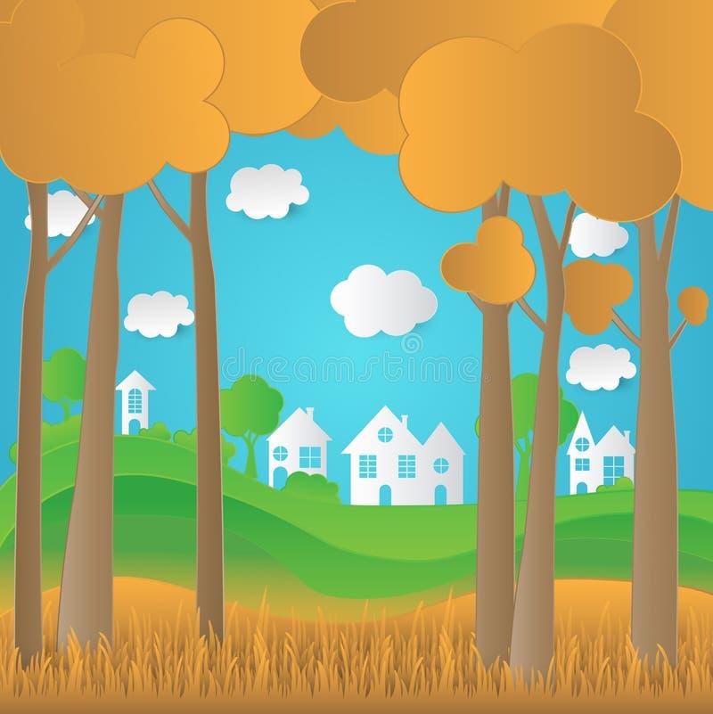 Estilo, árvore, casa e grama do projeto da arte do papel do eco do conceito com n ilustração do vetor