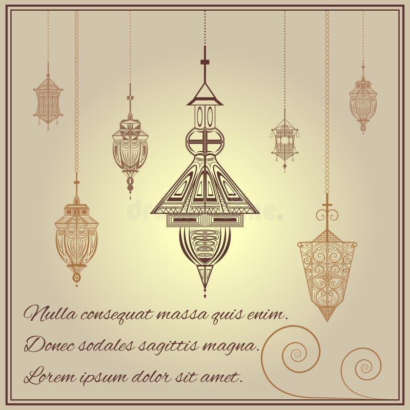 Estilo étnico del ornamento del vintage de la tarjeta de felicitación con las linternas stock de ilustración