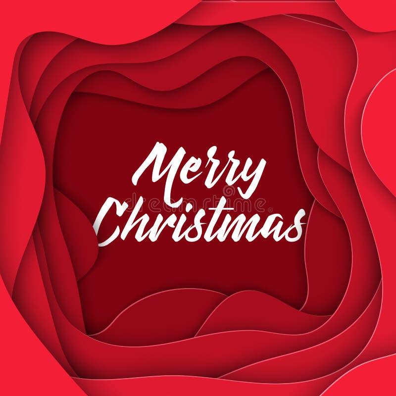estilo abstrato do papel do Feliz Natal 3D, disposição de projeto para apresentações do negócio, insetos, cartazes, cópias, decor ilustração royalty free