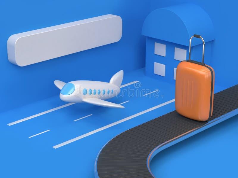 estilo abstrato geométrico dos desenhos animados do aeroporto da cena 3d azul com saco-bagagem 3d alaranjado para render o concei ilustração stock
