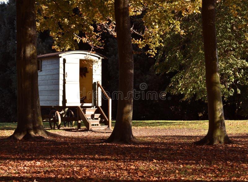 Estilo aciganado da caravana de madeira em Autumn Woods foto de stock royalty free