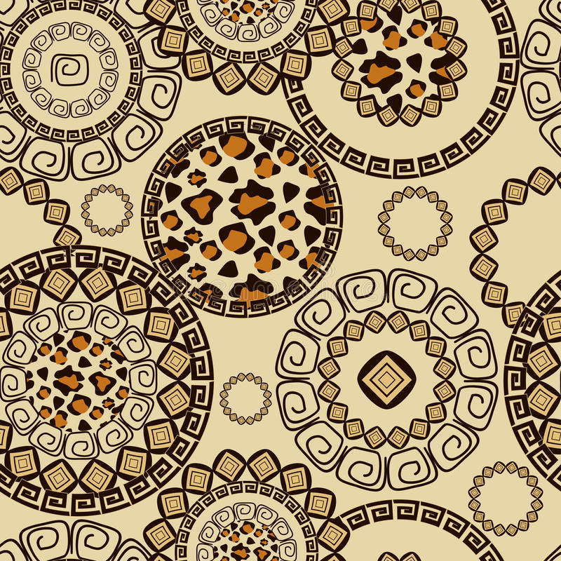 Estilo africano inconsútil con el modelo de la piel del guepardo stock de ilustración