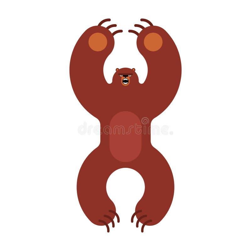 Estilo aislado malvado de la historieta del oso grizzly ataques de Big Bear ilustración del vector