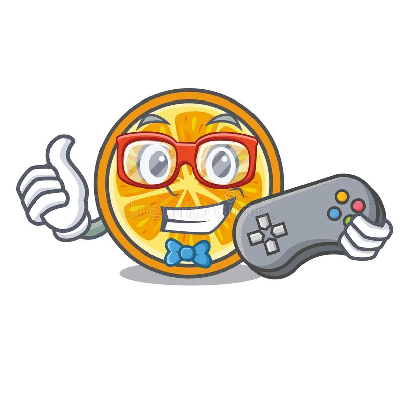 Estilo alaranjado dos desenhos animados da mascote do Gamer ilustração royalty free