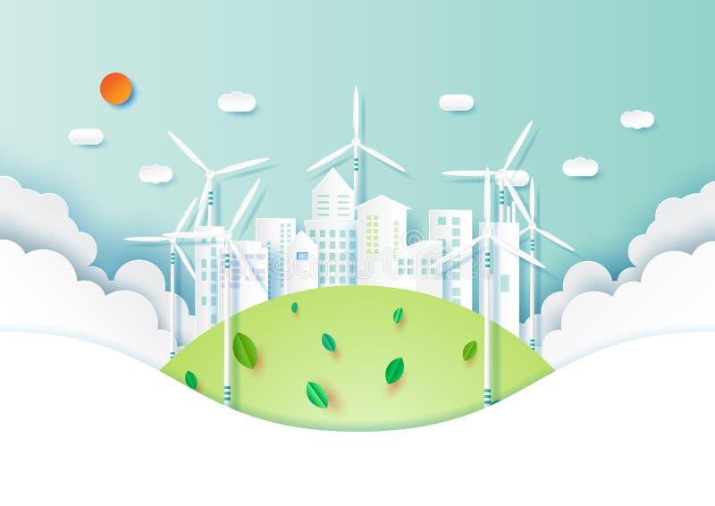 Estilo amigável da arte do papel do ambiente do eco verde ilustração royalty free