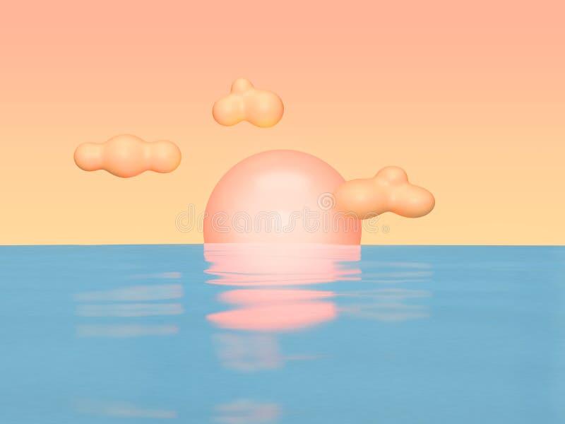 Estilo anaranjado claro 3d de la historieta del cielo y de la nube de la reflexión del agua azul de la puesta del sol del extract ilustración del vector