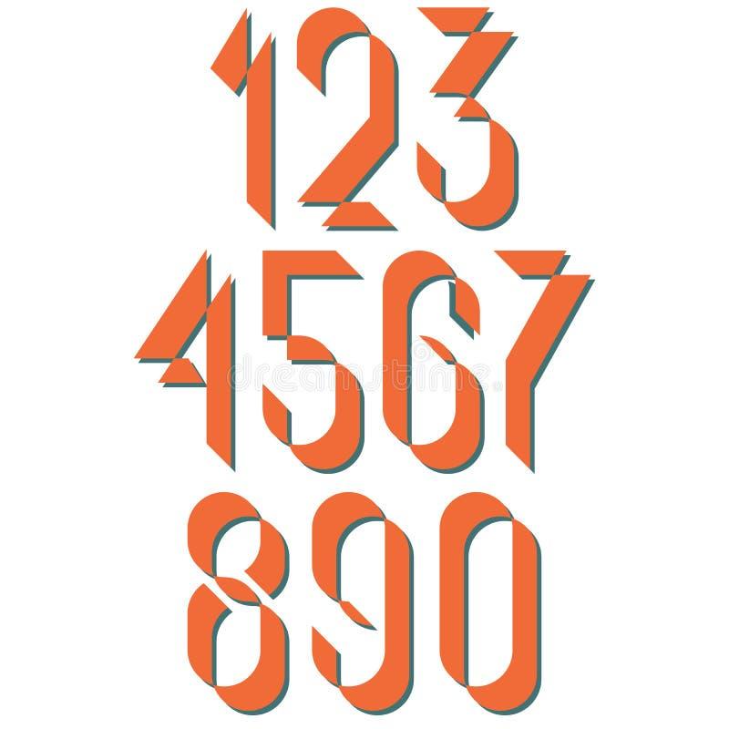 Estilo antigo dos numerais, cartaz retro dos números ajustados ou cartão, elementos do projeto do modelo para o convite do casame ilustração do vetor