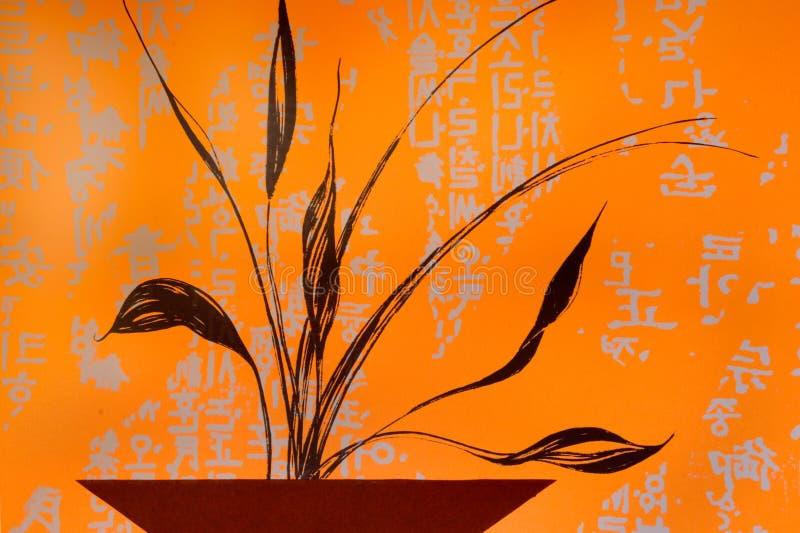 Estilo asiático de pintura stock de ilustración