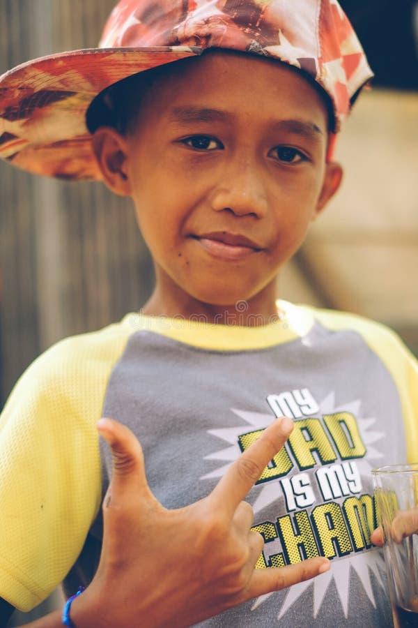 Estilo asiático lindo del gángster del niño pequeño foto de archivo libre de regalías