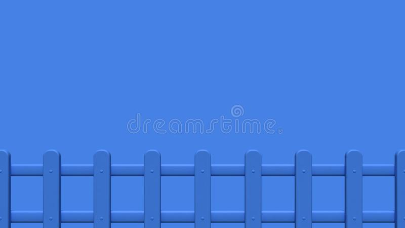 estilo azul 3d de la historieta de la cerca 3d rendir el espacio en blanco mínimo libre illustration