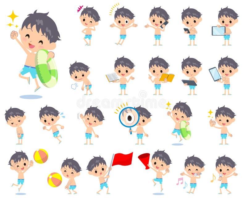 Estilo azul 2 do roupa de banho do menino ilustração stock