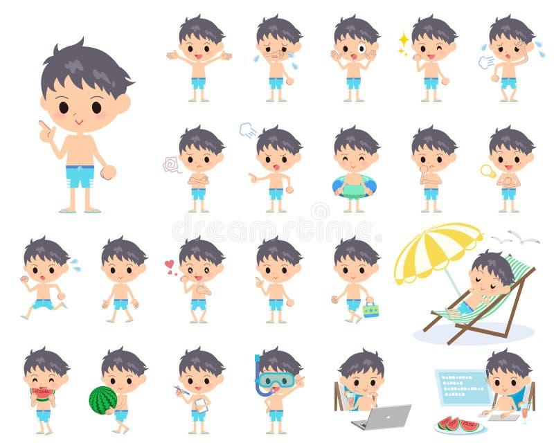 Estilo azul do roupa de banho do menino ilustração royalty free
