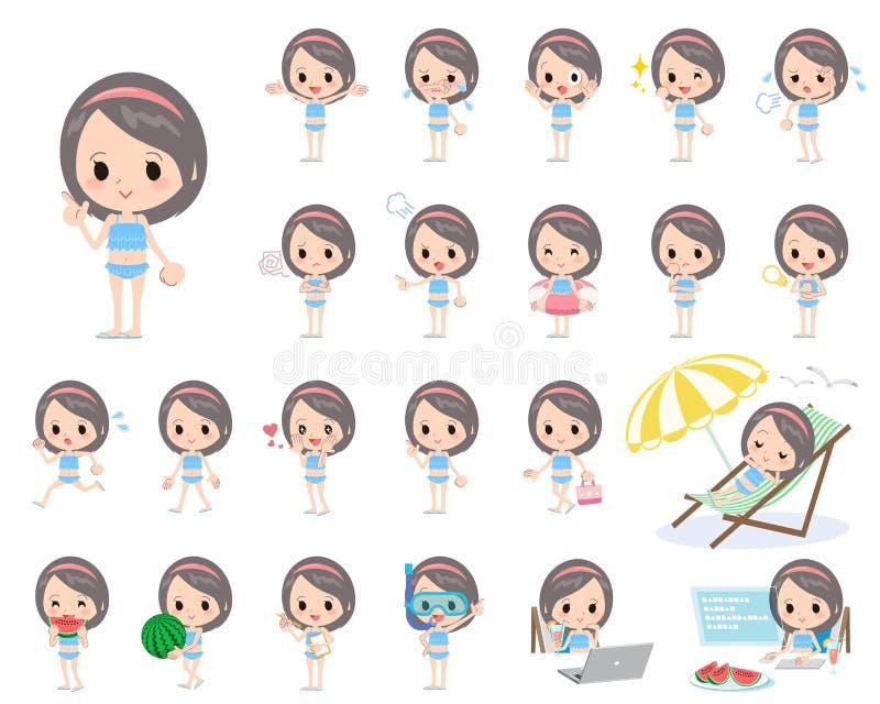 Estilo azul do roupa de banho do plissado da menina da faixa ilustração royalty free