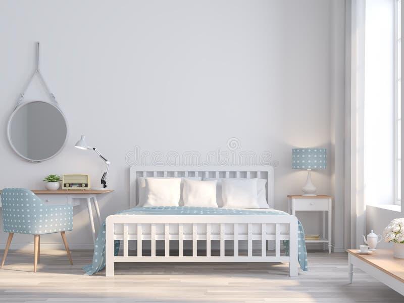 Estilo blanco del vintage del dormitorio para la idea adolescente 3d rendir stock de ilustración