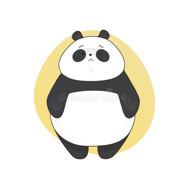 Estilo bonito aborrecido dos desenhos animados da panda Ilustração desenhada mão do vetor ilustração royalty free
