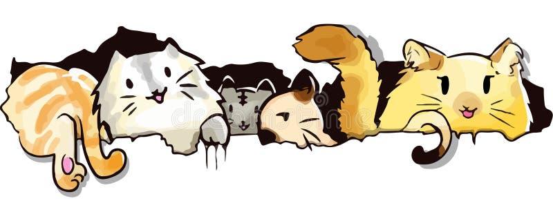 Estilo bonito do kawaii dos desenhos animados do gato ilustração royalty free