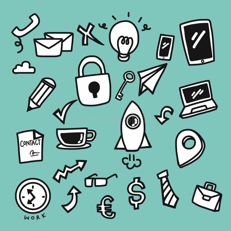 Estilo bonito dos desenhos animados da garatuja do grupo do ícone do negócio ilustração stock