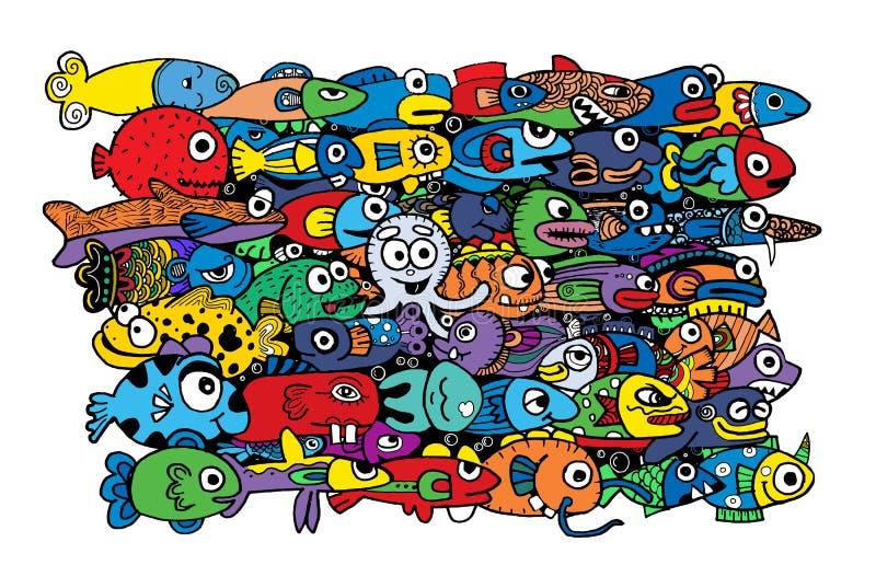Estilo bonito louco do desenho da vida marinha ilustração do vetor