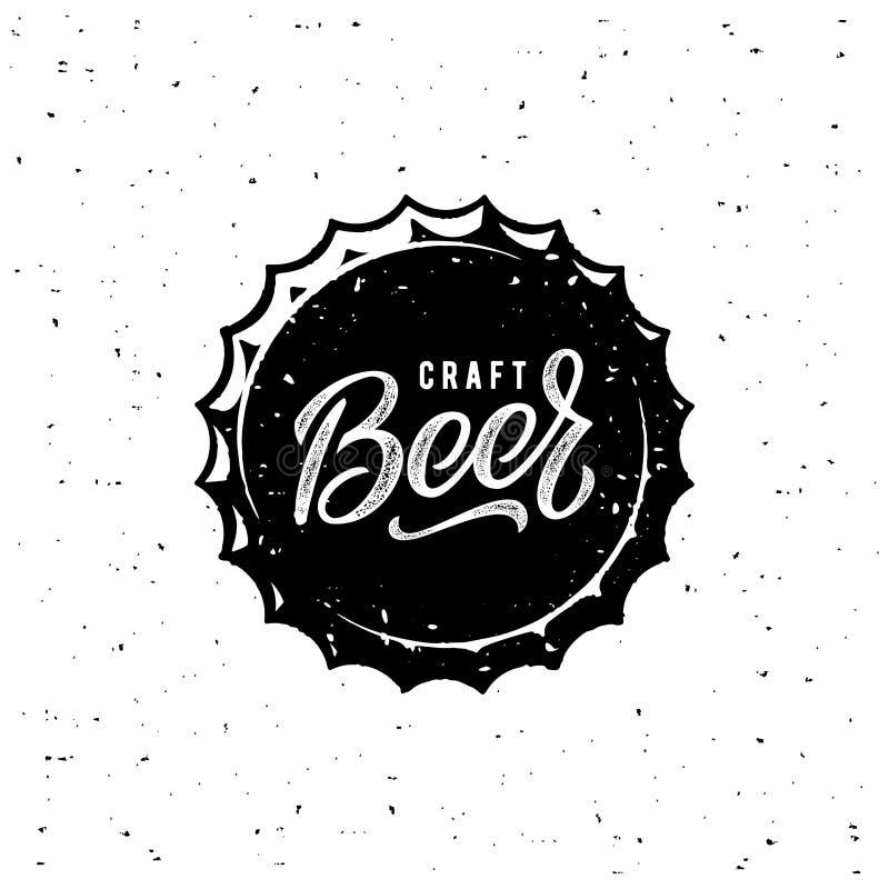 Estilo branco do Grunge do tampão da cerveja Ilustração do vetor ilustração stock