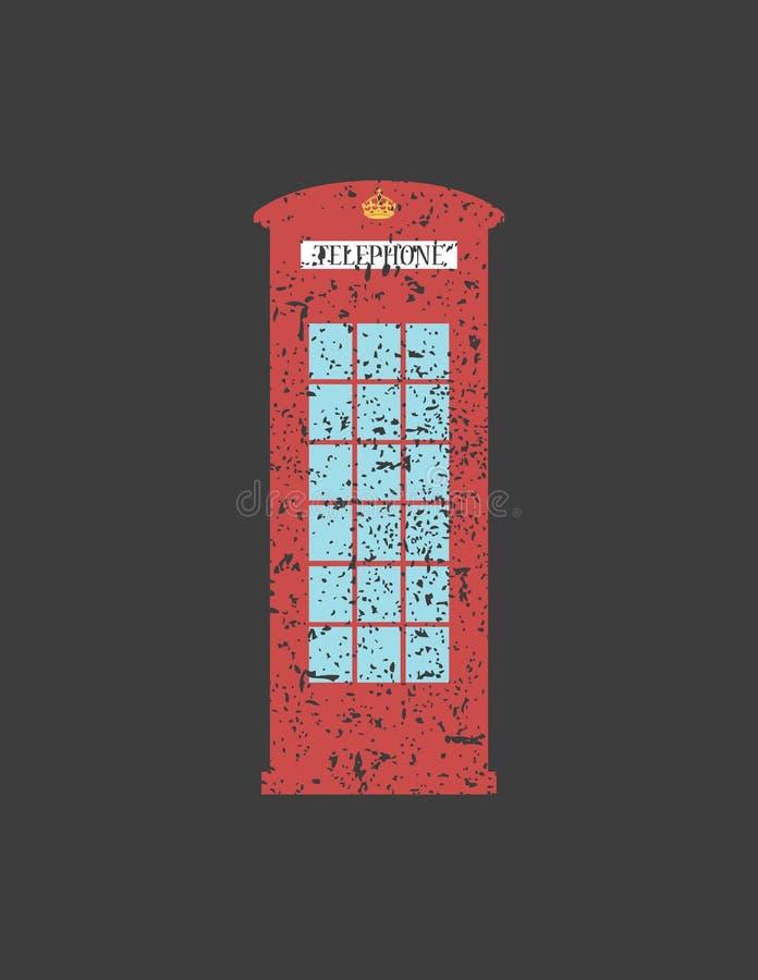 Estilo británico del vintage de Londres de la cabina de teléfonos, palabra en grunge, stock de ilustración