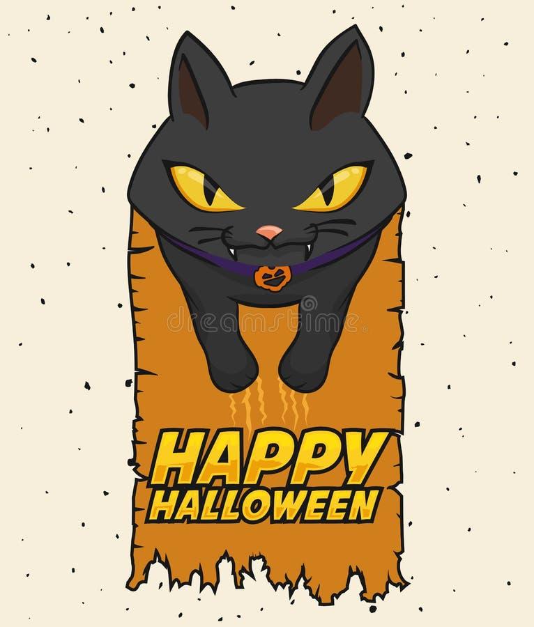 Estilo Cat Halloween Poster, ejemplo de la historieta del vector ilustración del vector