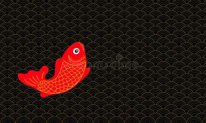 Estilo chinês abstrato do teste padrão com peixes afortunados ilustração stock