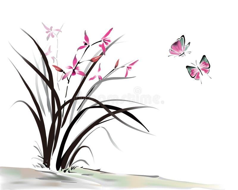 Orquídea e borboleta ilustração do vetor