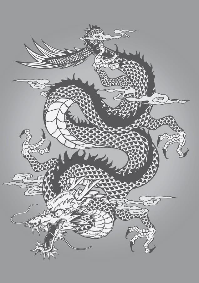 Estilo chinês do estilo de Dragon Capricorn Goat Tattoo Japanese ilustração royalty free