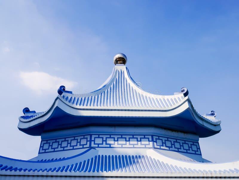 Estilo chinês do telhado do vintage azul imagens de stock royalty free